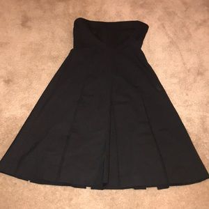 Theory black strapless flare a line dress